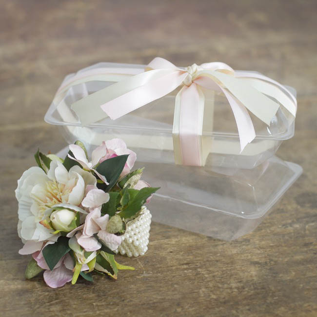 Acetate Corsage Bomboniere Box - Acetate PVC Corsage Clam Shell Box Clear (225x120x70mmH)