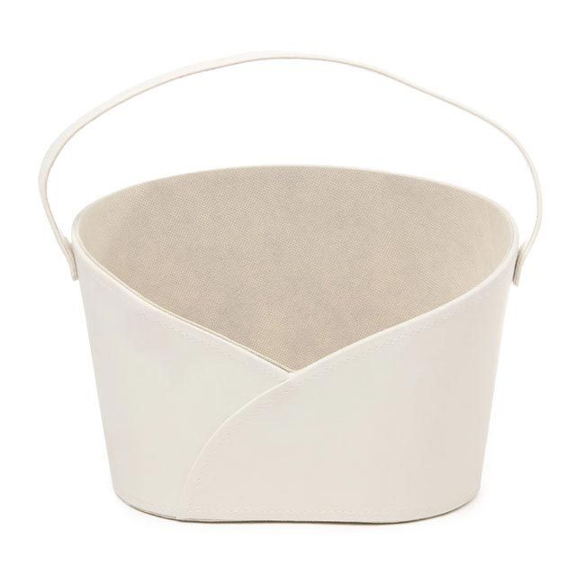 Hamper Basket Oval with Handle Cream (26x17x18cmH)
