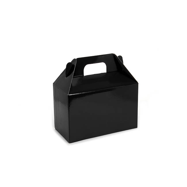 Cardboard Gourmet Box - Gable Box Flat packed Medium Black (21.5x12x14cm)