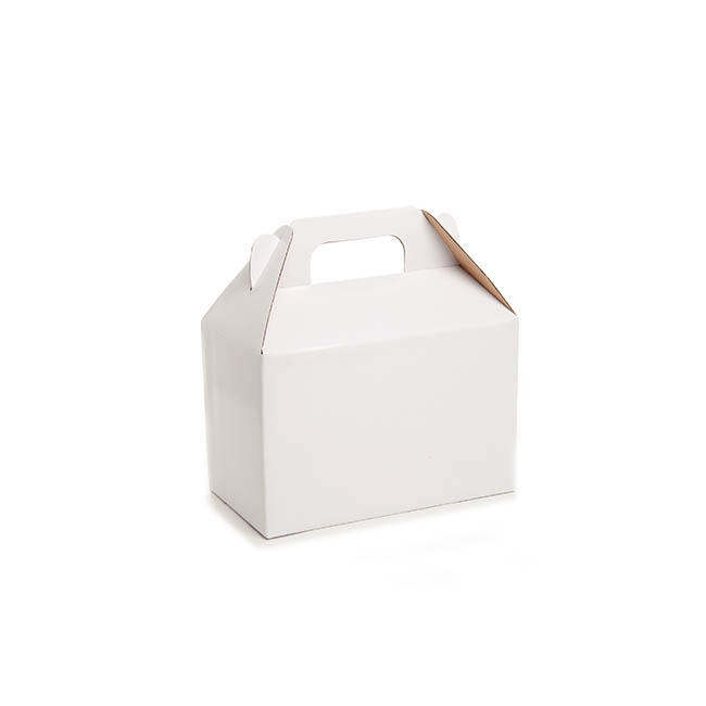 Cardboard Gourmet Box - Gable Box Flat packed Medium White (21.5x12x14cm)