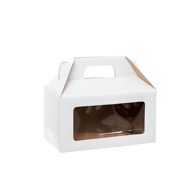 Cardboard Gourmet Box - Gable Box With Window Flat Pack Large White(24x13x13cm)