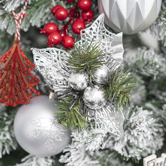 Christmas Picks - Christmas Pick with Baubles 4 Pack Silver (12.5cmH)