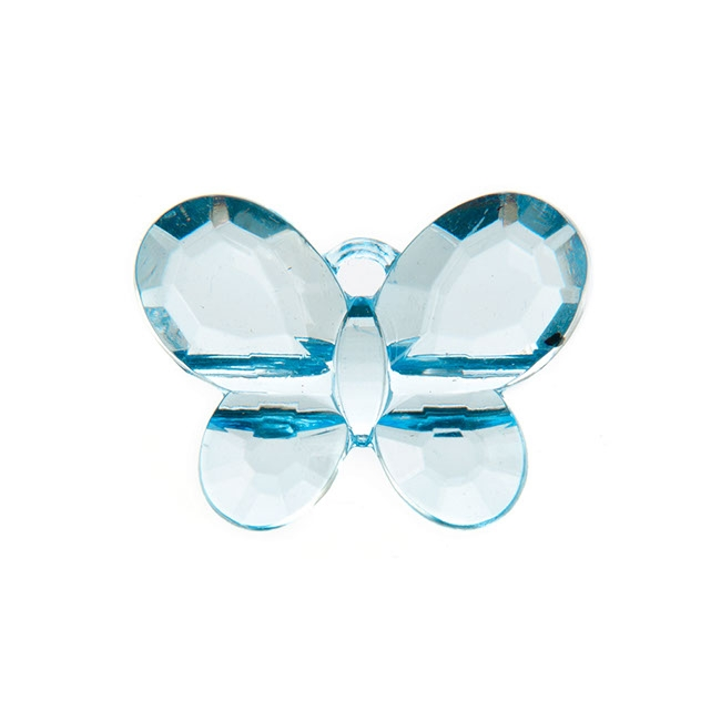 Charm Butterfly 33x25mm pk6 Baby Blue