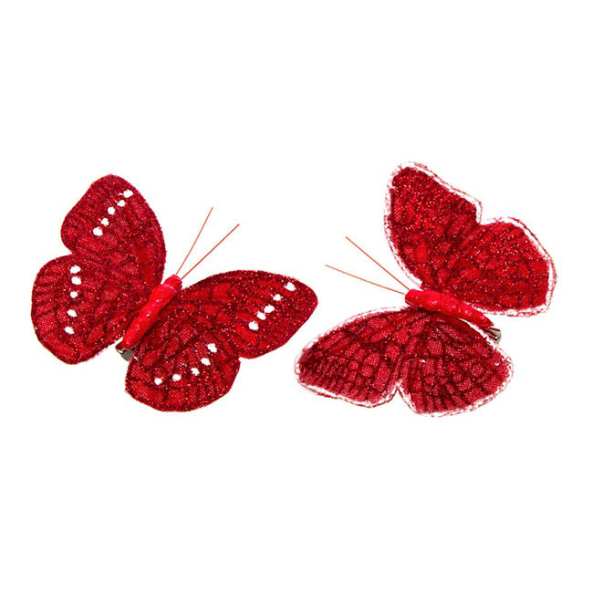 Butterfly Clip (12.5cm) with Glitter Pack 6PC Red