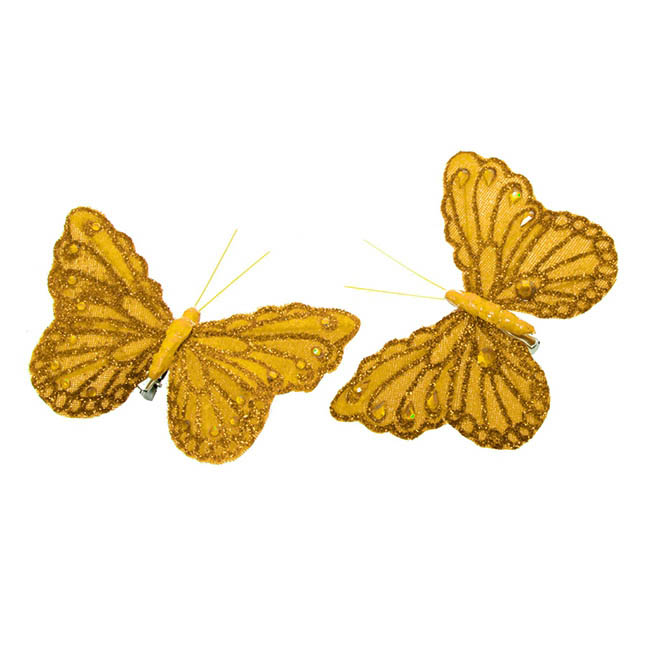 Butterfly Clip (12.5cm) with Diamond Pack 6PC Gold