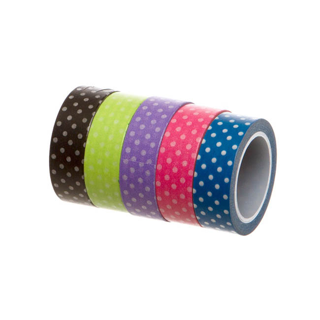 Washi Tape Dots Assorted Colours PK5 (15mmx10m)