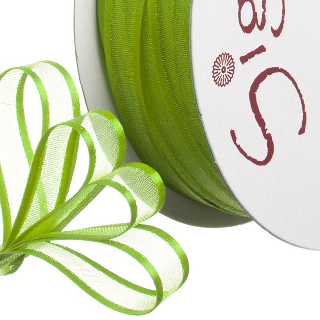 Organza Ribbons - Ribbon Organdy Satin Edge Lime (10mmx20m)