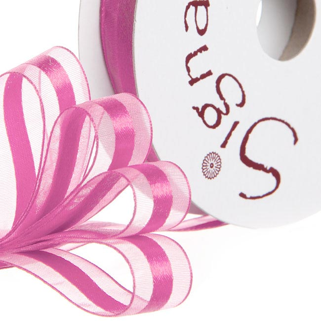 Ribbon Organdina Satin Stripes Hot Pink (15mmx20m)