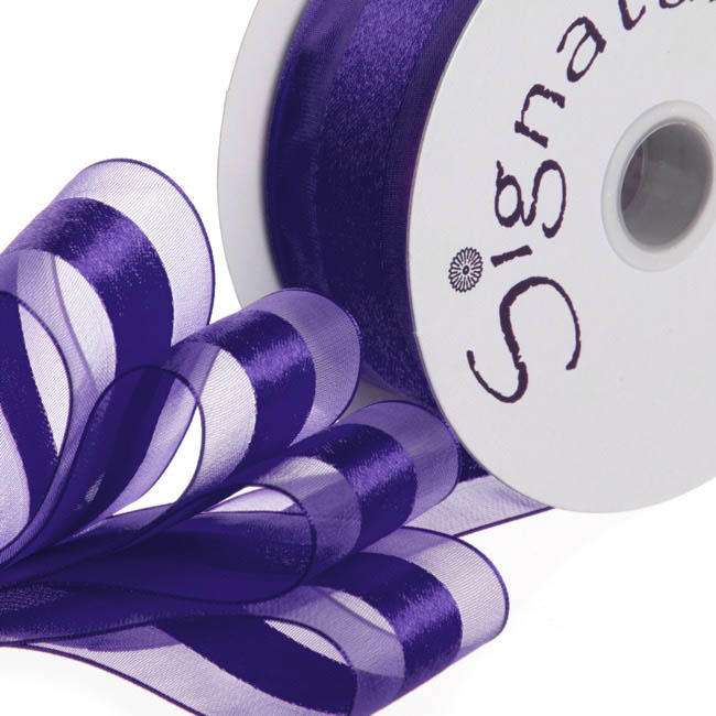Organza Ribbons - Ribbon Organdina Satin Stripes Violet (38mmx20m)