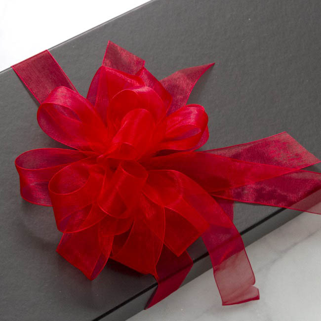 Organza Ribbons - Ribbon Organza Woven Edge Red (15mmx25m)