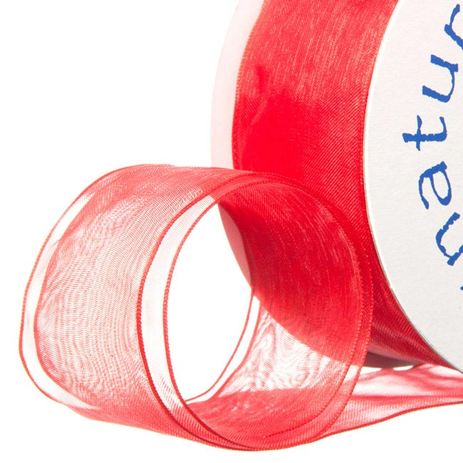 Ribbon Organza Wire Edge Red (38mmx20m)