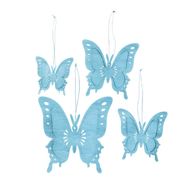 Hanging Butterfly Set of 4 Baby Blue (8,10,12,15cm)