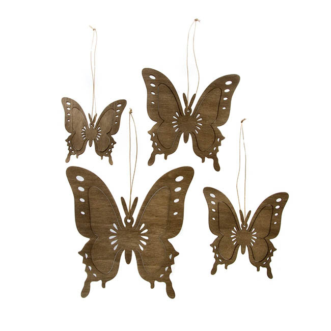Hanging Butterfly Set of 4 Light Brown (8,10,12,15cm)