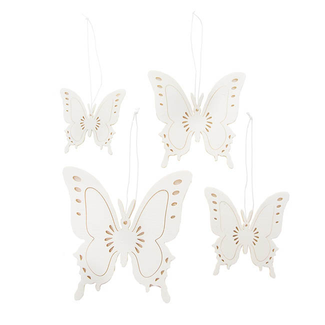 Hanging Butterfly Set of 4 White (8,10,12,15cm)