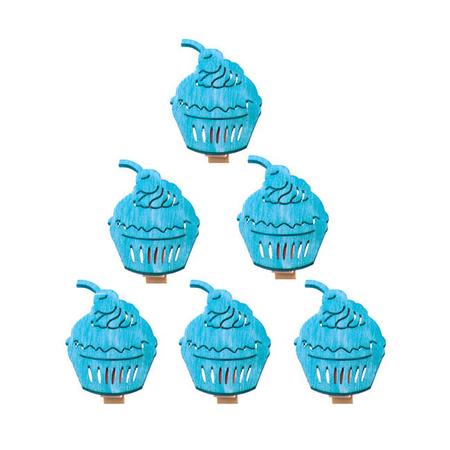 Wooden Peg with Cup Cake Blue (40mm) Pack 6