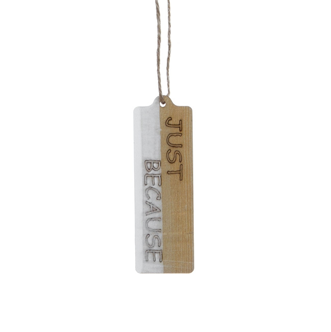 Wood Hanging Tag 'Just Because' Pack 12 (4x12cm)