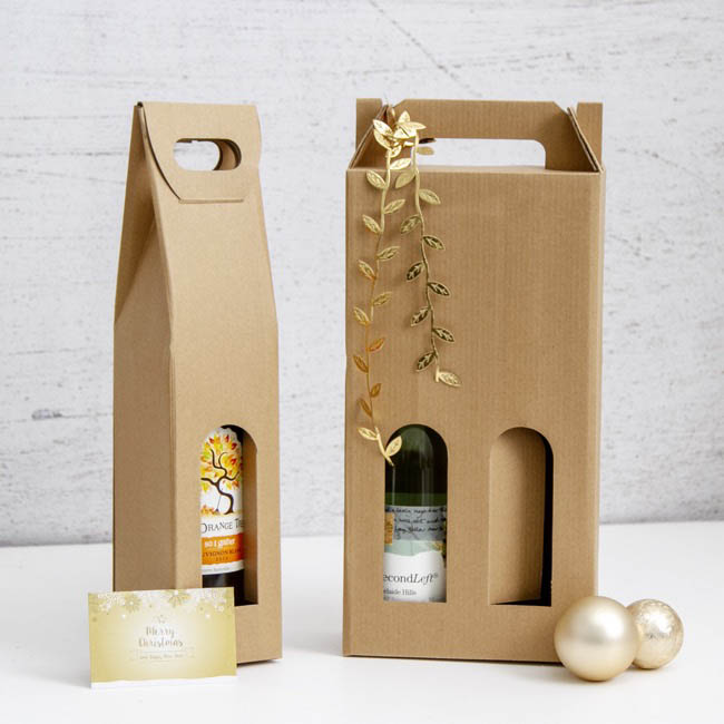 Wine Gift Bags - Wine Box Double with Window Brown Kraft (9x17.5x39.5cmH)