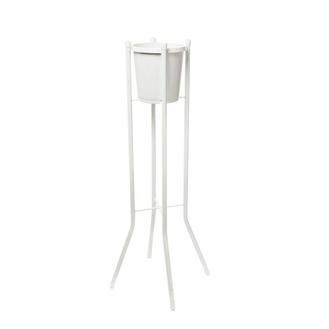 Flower Display Stand Single Bucket 91cmH White