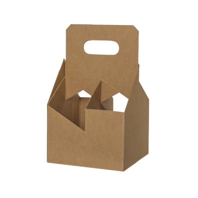 Wine Gift Bags - Wine Bottle Carrier Box x4 Brown Kraft (184x184x305mmH)