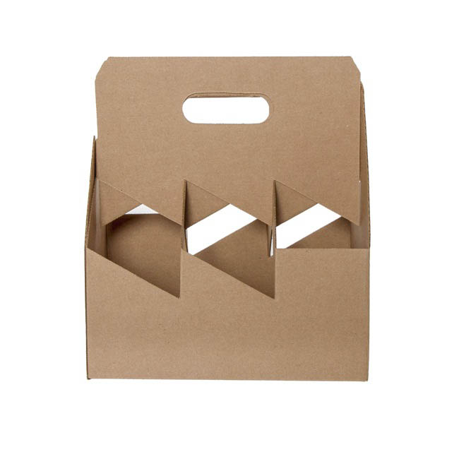 Wine Gift Bags - Wine Bottle Carrier Box x6 Brown Kraft (178x267x305mmH)