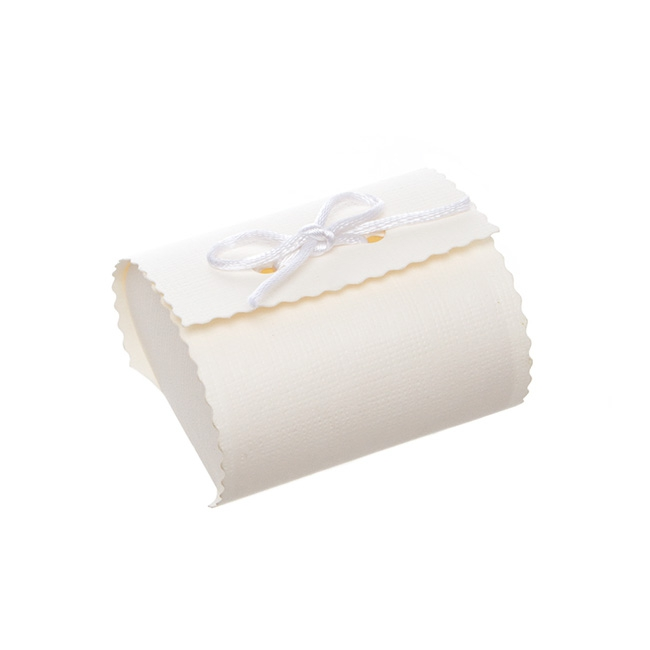 Embossed Bomboniere Party Favour 10 Pack White (6x6x4cmH)