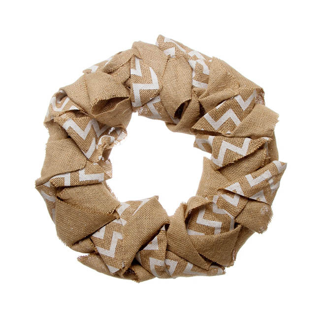 Chevron Burlap Wreath Beige (43cmD)