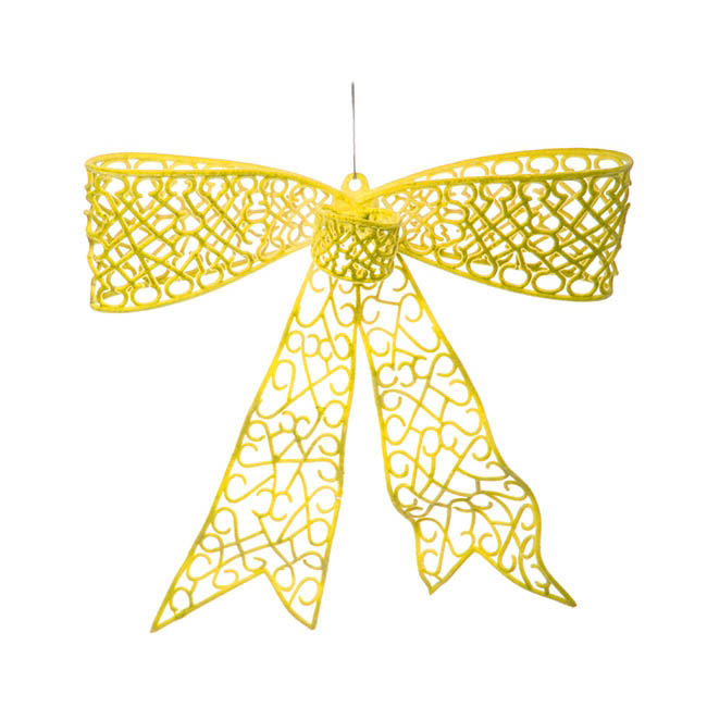 Flocked Large Bow Bright Yellow (35cmx30cmH)