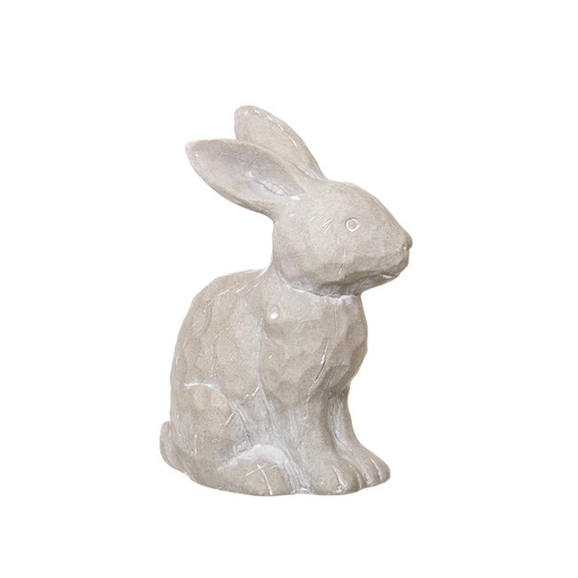 Bunny Ornament Standing Light Grey (19.5cmH)