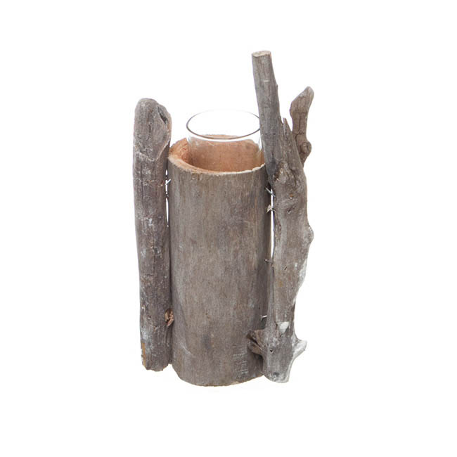 Wooden Candle Holder with Glass Votive Natural (22cmH)