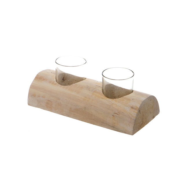 Wooden Candle Holder with 2 Glass Votives Natural (20cm)