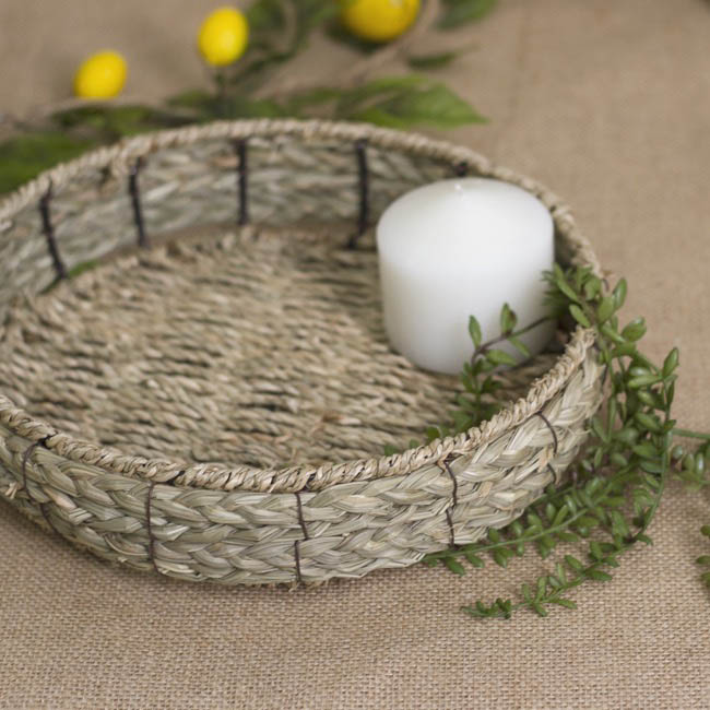 Hamper Tray & Gift Basket - Seagrass Tray Round (26x26x6cmH)
