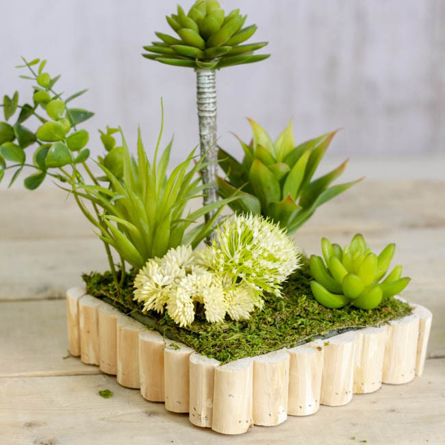 Natural Decorations - Wooden Planter Square Set 3 Natural (30x30x8cmH)