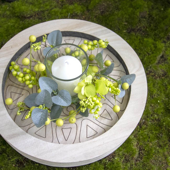 Home Seasonal Decorations - Floral Garden Candle Holder Green (16x9cmH)