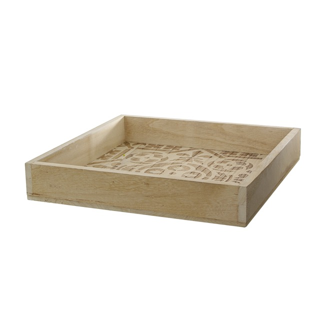 Natural Decorations - Wooden Tray Square with Burnt Pattern (35x35x6cmH)