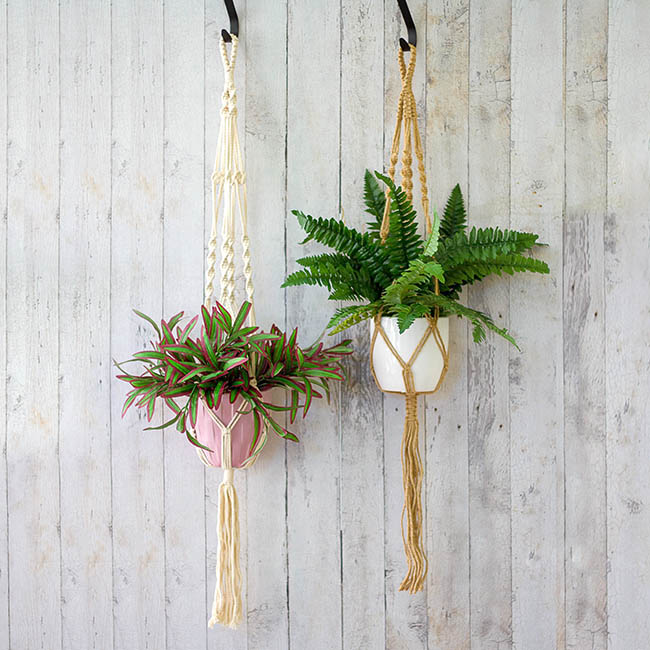 Hanging Pots - Macramé Hanging Pot Holder Twist Natural (105cm)