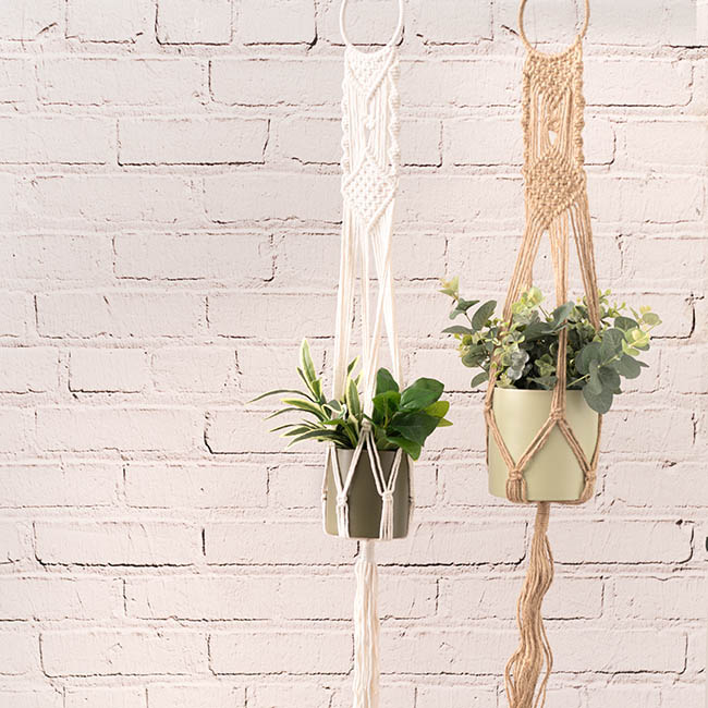 Home Seasonal Decorations - Macramé Hanging Pot Holder Boho White (105cm)