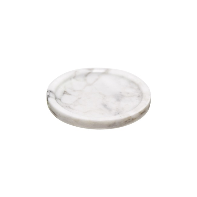 Candle Plates & Mirrors - Marble Plate Round White (11Dx1.3cmH)