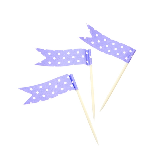 Dotted Cupcake Toppers 24 Pack Purple (4.5x6.5cmH)