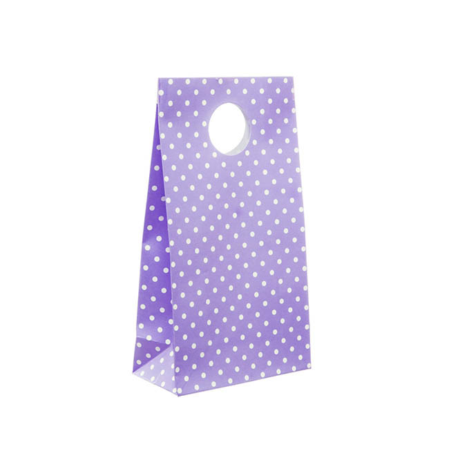 Dotted Party Bag 6 Pack Purple (10x18cmH)