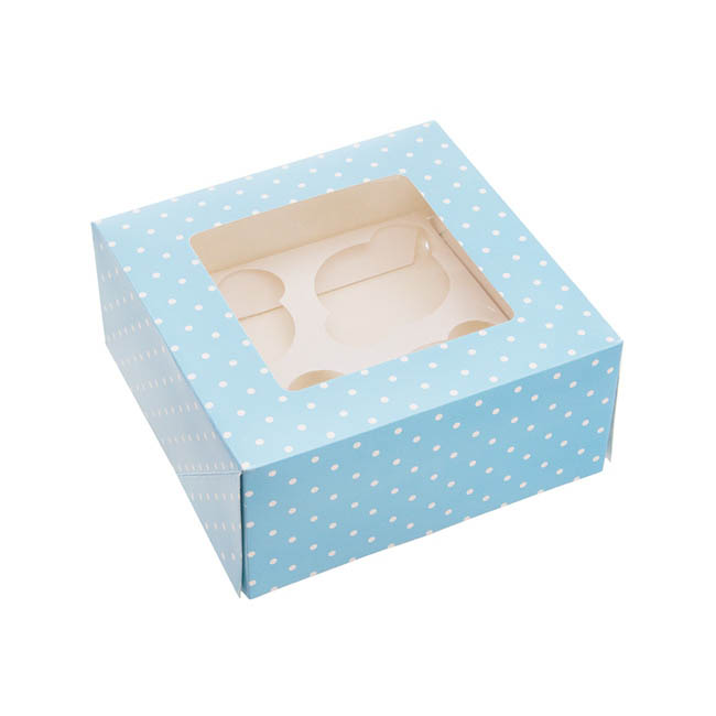 Dotted Cupcake Holder 2 Pack Blue (16x16x7.5cmH)