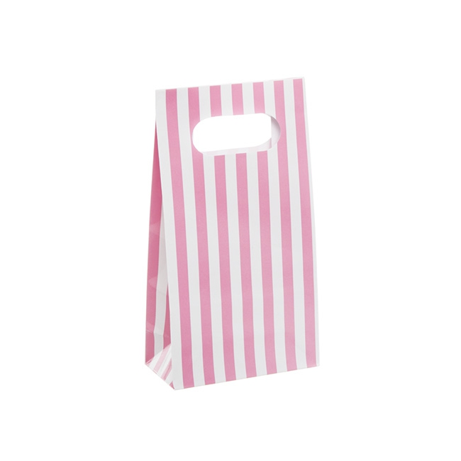 Striped Party Bag 4 Pack Pink (6x10x18cmH)