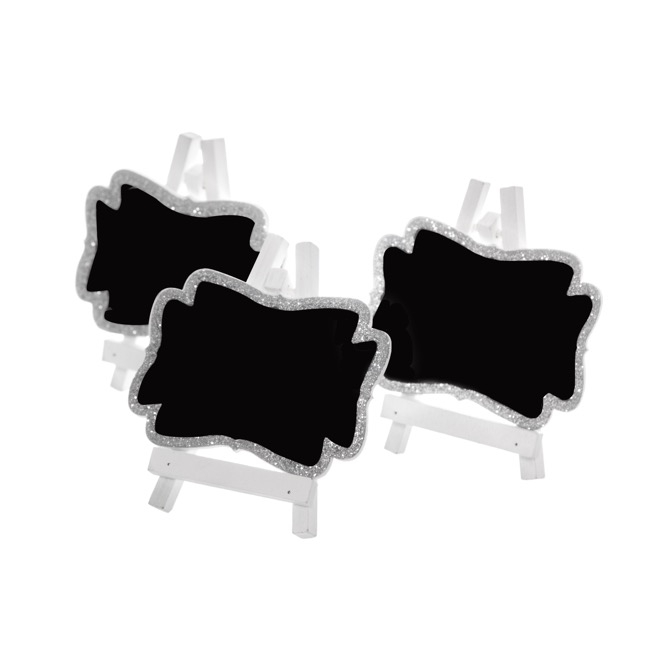 Party Decorations - Mini Blackboard Giltter Silver (7x8cmH) Pack 3