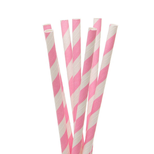 Paper Straws - Striped Paper Straws Pink (20cmH) Pack 20