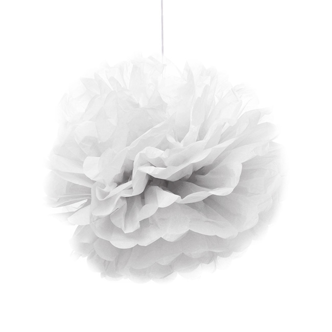 Party Decorations - Hanging Tissue Pom Pom White (40cmD) Pack 2