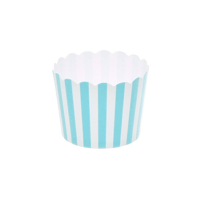 Striped Paper Baking Cups 25 Pack Blue (6x4.5cmH)