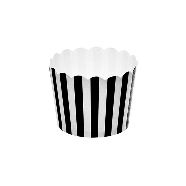 Striped Paper Baking Cups 25 Pack Black (6x4.5cmH)