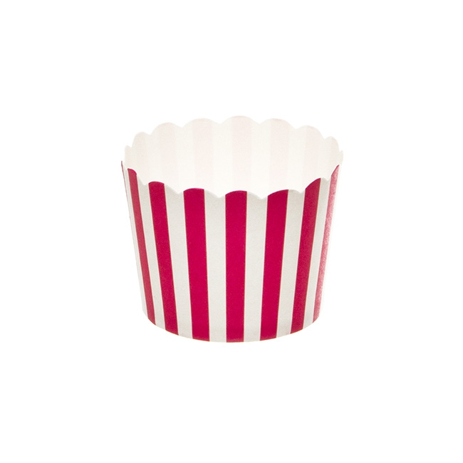 Striped Paper Baking Cups 25 Pack Hot Pink (6x4.5cmH)