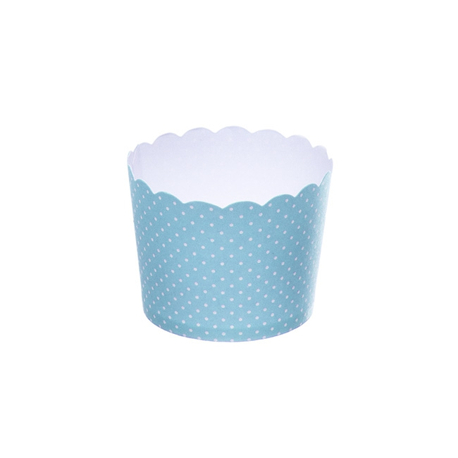 Dotted Paper Baking Cups 25 Pack Blue (6x4.5cmH)