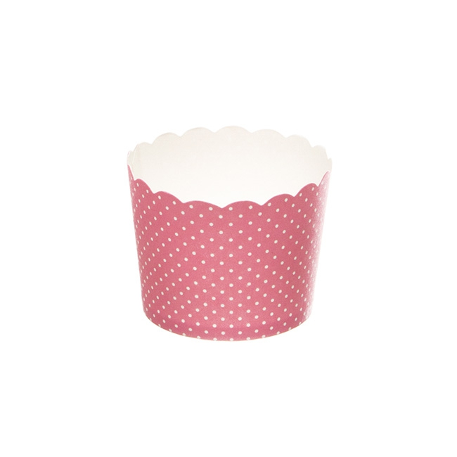 Dotted Paper Baking Cups 25 Pack Pink (6x4.5cmH)