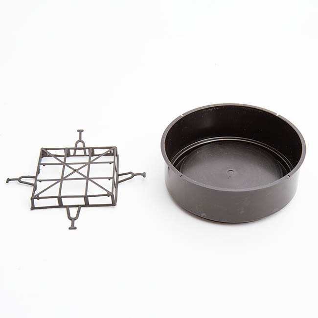 Designer Flower Bowl - Deep Designer Bowl & Guard Small (16.5Dx6.5cmH) Black